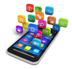 Un smartphone con iconos de aplicaciones